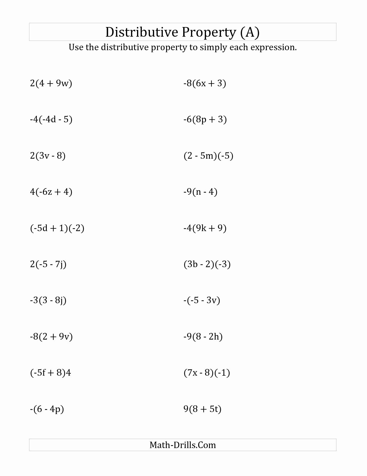 Distributive Property 6th Grade Worksheet Kids Distributive Property Worksheet 7th Grade Worksheet List