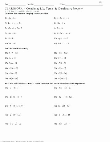 Distributive Property with Variables Worksheet Kids solving Equations with Distributive Property Worksheets