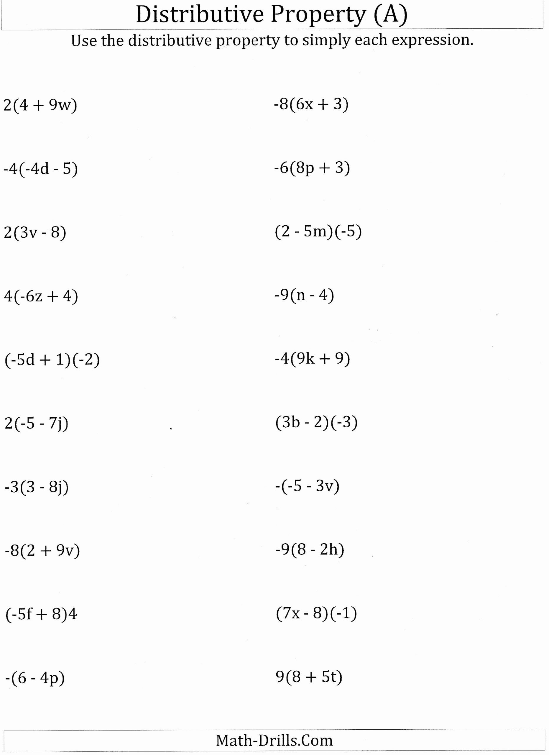 Distributive Property with Variables Worksheet Lovely Worksheet Math Worksheets Distributive Property