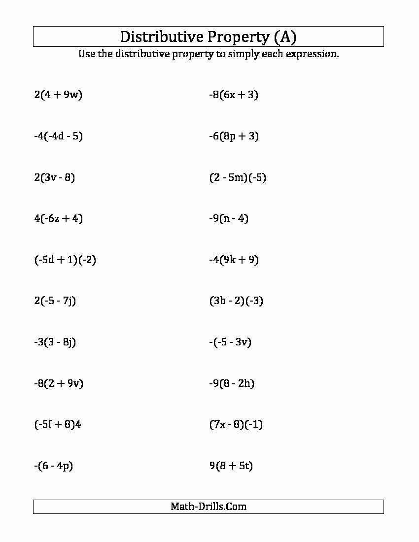 Distributive Property with Variables Worksheet Printable Using the Distributive Property Answers Do Not Include