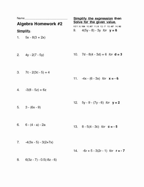 Distributive Property with Variables Worksheet top Algebra Homework 2 Distributive Property Worksheet for 8th