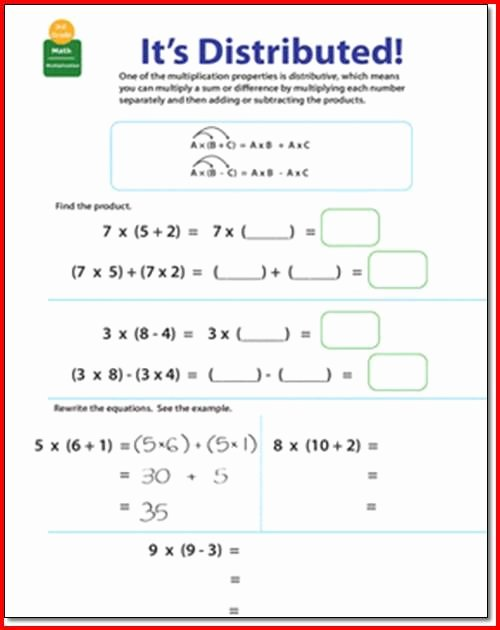 Distributive Property Worksheet 3rd Grade Best Of Distributive Property Multiplication 3rd Grade