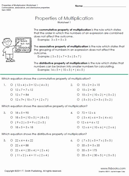 Distributive Property Worksheet 3rd Grade New Properties Of Multiplication