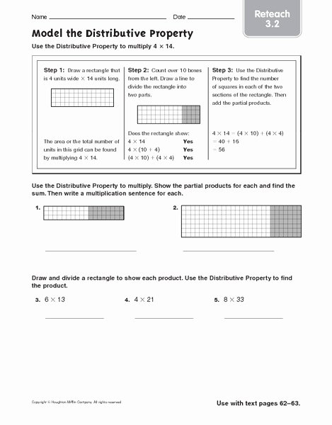 Distributive Property Worksheet 4th Grade Kids Model the Distributive Property Reteach Worksheet for 4th