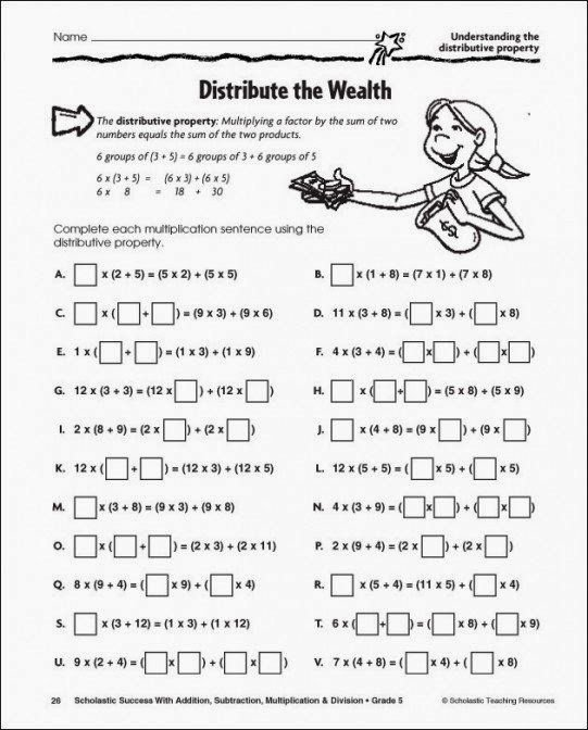 Distributive Property Worksheet 4th Grade New Distributive Property Worksheet 6th Grade Distributive