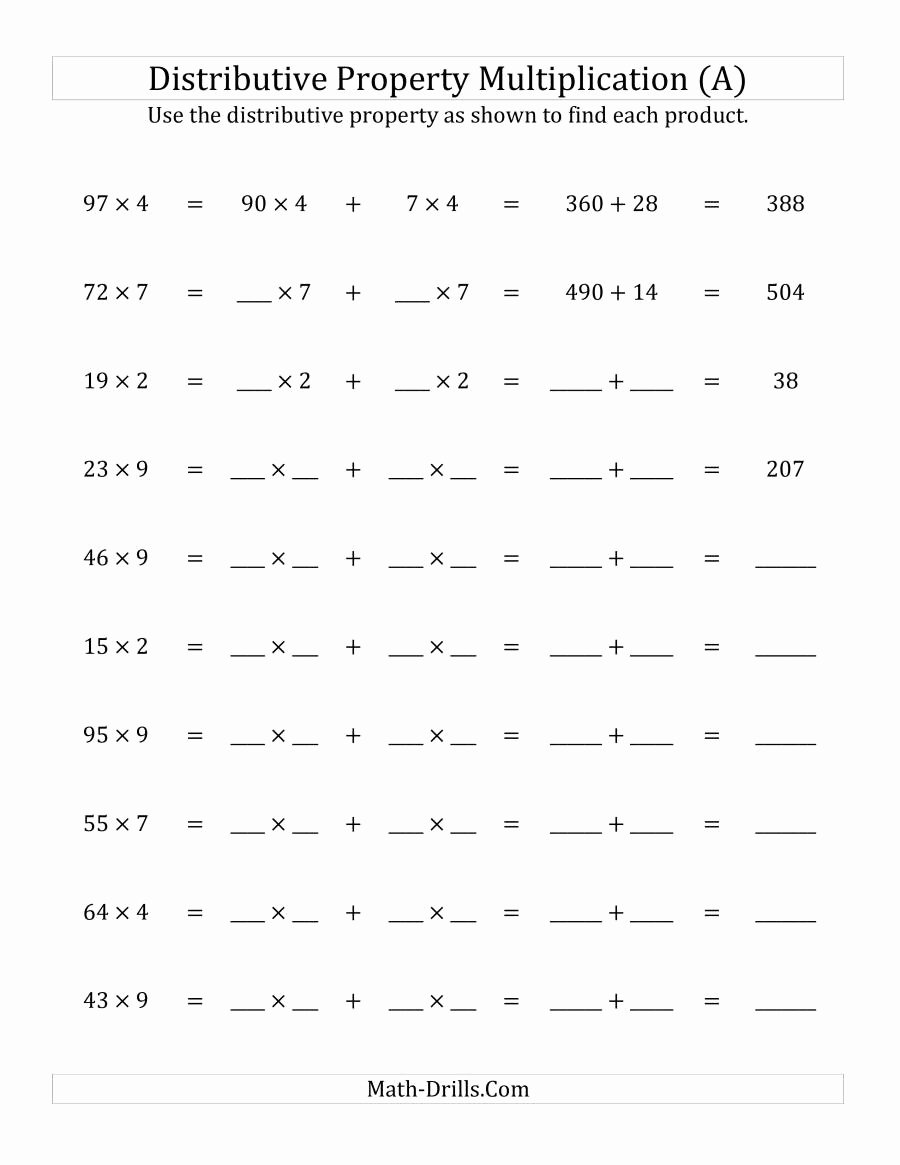 Distributive Property Worksheets 5th Grade Printable Multiply Digit by Numbers Using the Distributive Distribute
