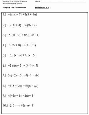 Distributive Property Worksheets 7th Grade Inspirational Algebra Worksheets for Simplifying the Equation