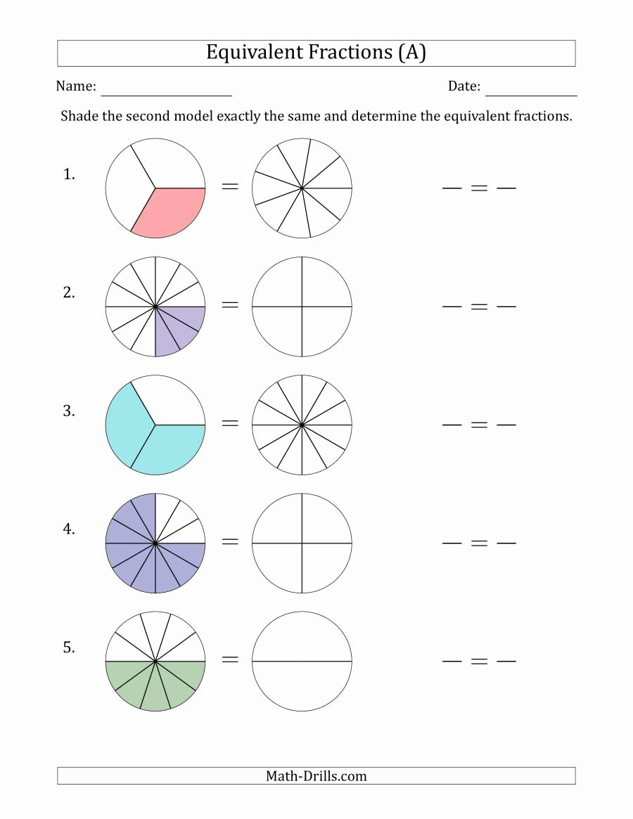 Dividing Fractions Using Models Worksheet Best Of Equivalent Fractions Models Answers to Math Drills