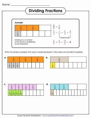 Dividing Fractions Using Models Worksheet Free Dividing Fractions Worksheet