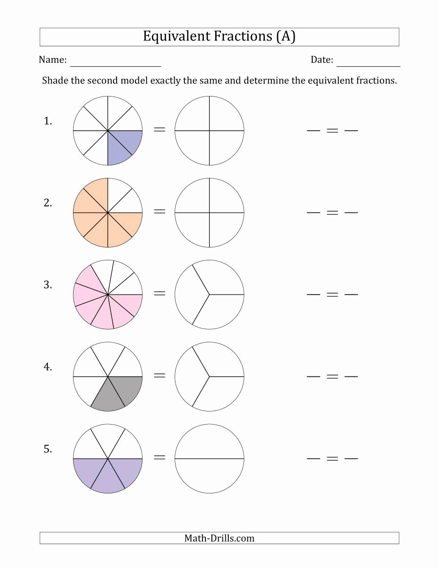 Dividing Fractions Using Models Worksheet Inspirational Worksheet Equivalent Fractions Models with the Simplified