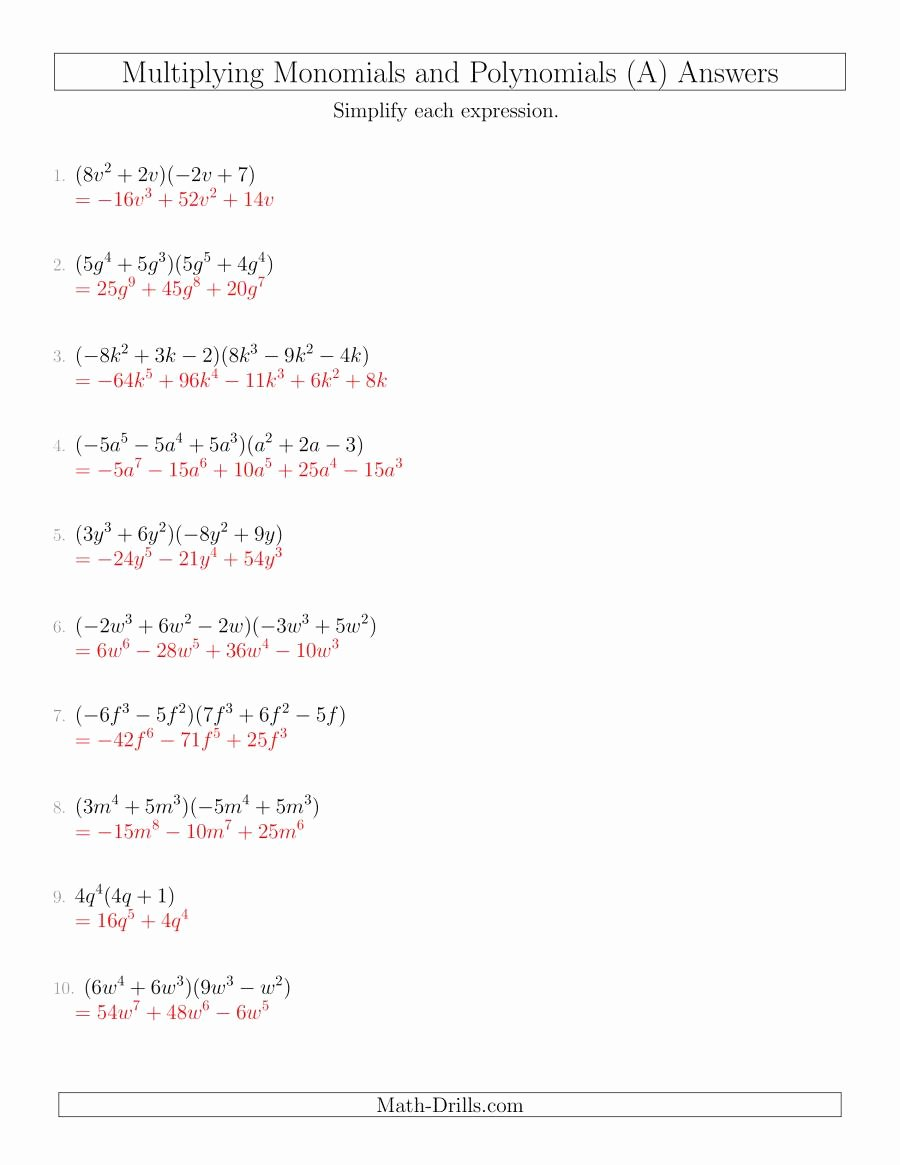 Dividing Polynomials by Monomials Worksheet Fresh Multiplying Monomials and Polynomials with Two Factors Mixed