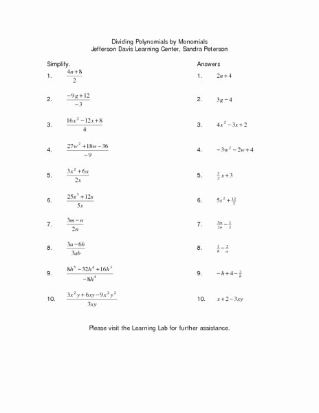 Dividing Polynomials by Monomials Worksheet New Dividing Polynomials by Monomials Lesson Plan for 9th 10th
