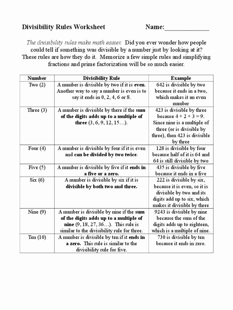 Divisibility Rules Worksheet 6th Grade Ideas Divisibility Rules Worksheetc Arithmetic