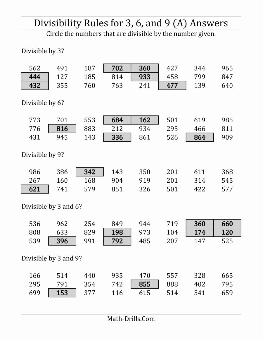 Divisibility Rules Worksheet 6th Grade Inspirational Divisibility Rules for 3 6 and 9 3 Digit Numbers A