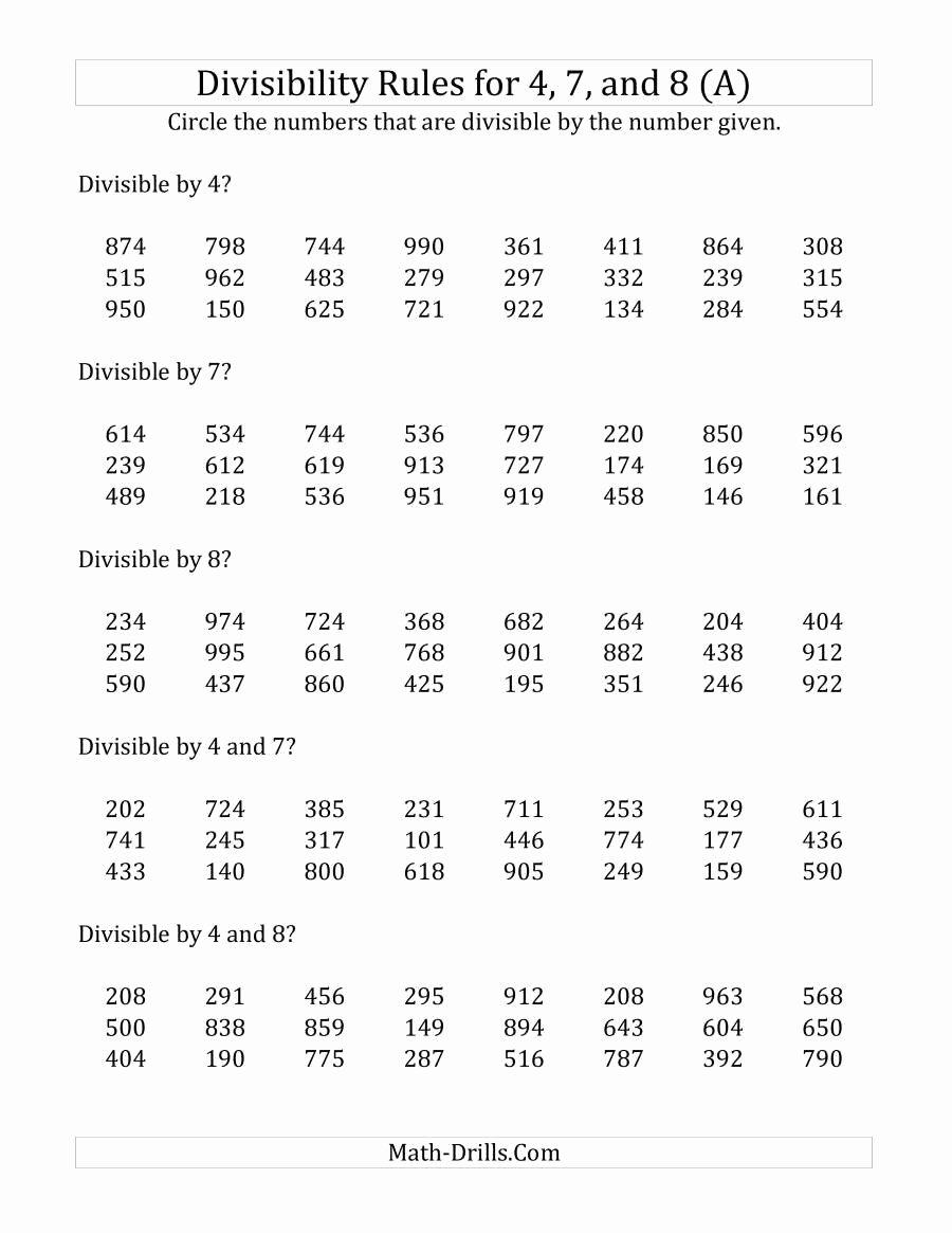 Divisibility Rules Worksheet 6th Grade Lovely Divisibility Rules Worksheet 6th Grade Divisibility Rules
