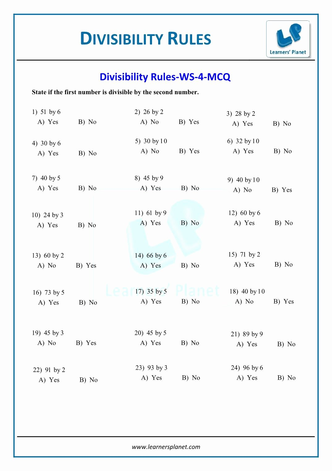 Divisibility Rules Worksheet 6th Grade New Line Math Divisibility Rules Test Paper for 6th Class Cbse