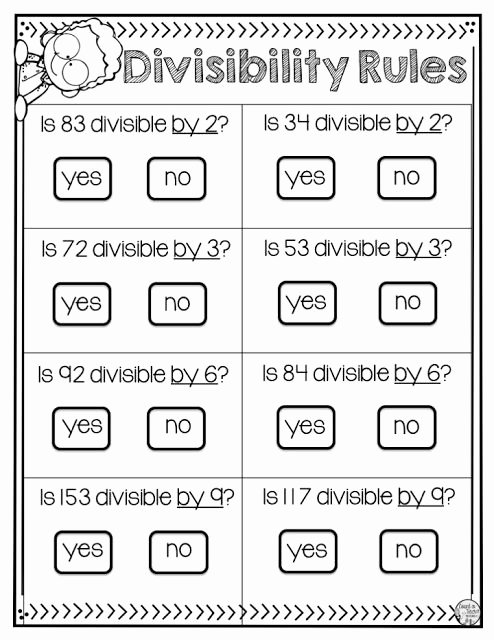 Divisibility Rules Worksheet 6th Grade Printable 4 Divisibility Rules Every Student Should Master with