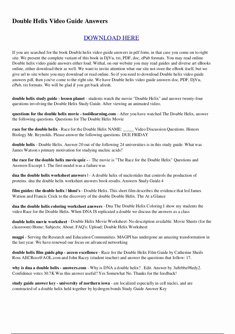 Dna the Double Helix Worksheet Kids Dna the Double Helix Coloring Worksheet Answer Key