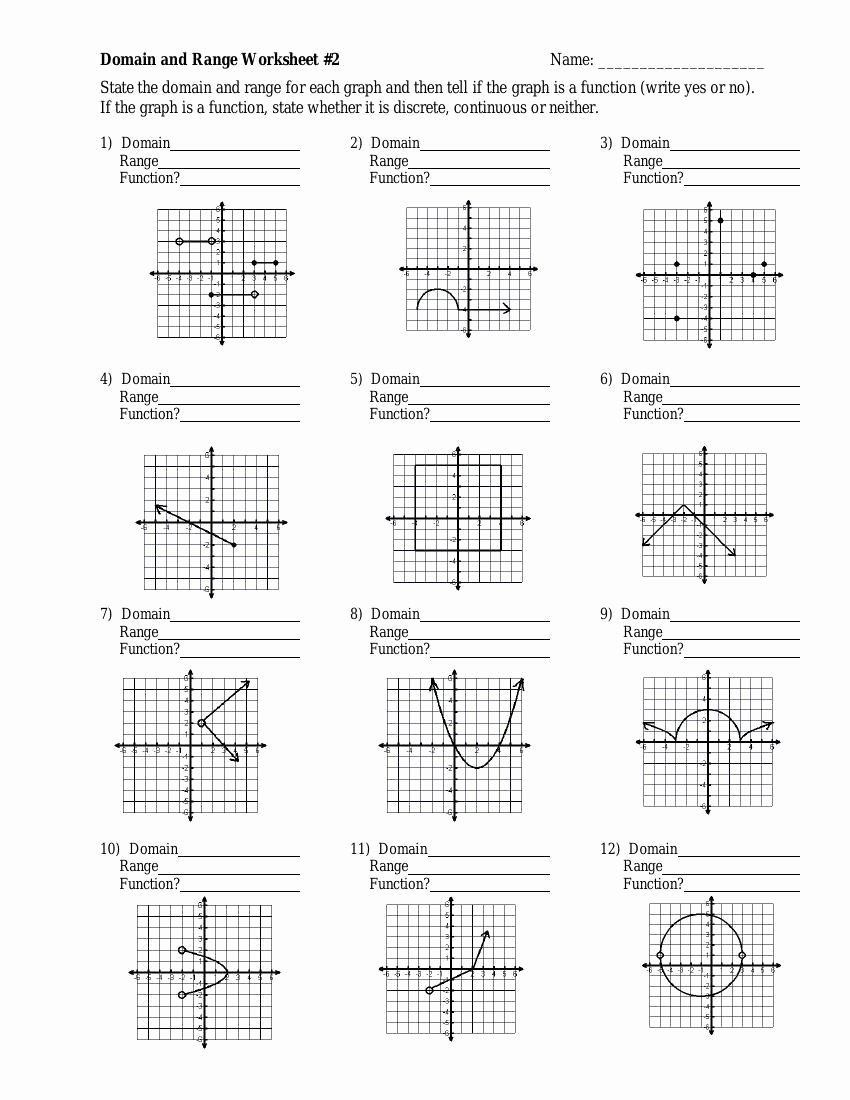 Domain and Range Practice Worksheet Free Domain and Range Worksheet Grade 11
