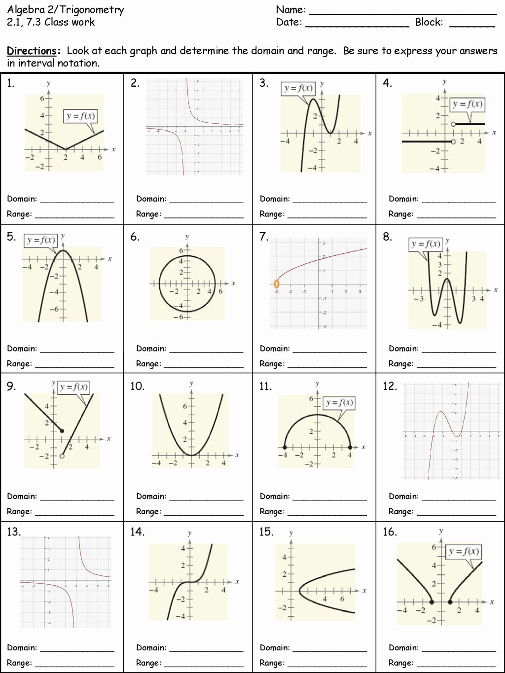 Domain and Range Worksheet 1 Lovely Algebra 2 Trigonometry Name Ppt