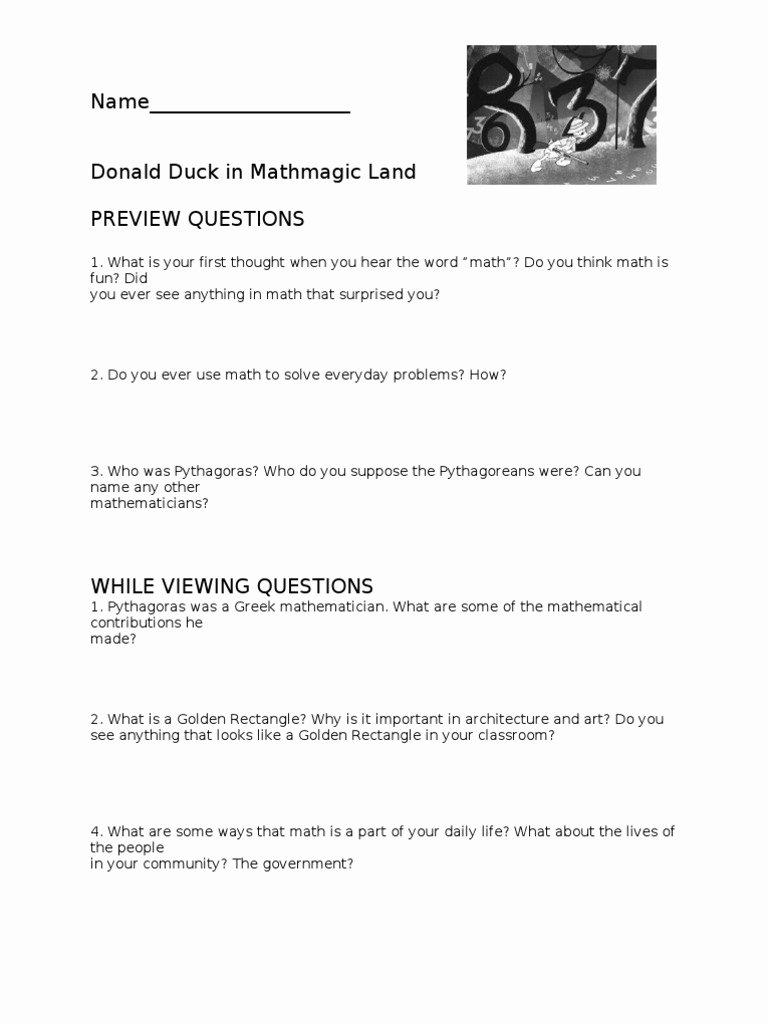 Donald In Mathmagic Land Worksheet Best Of Donald Duck Worksheet