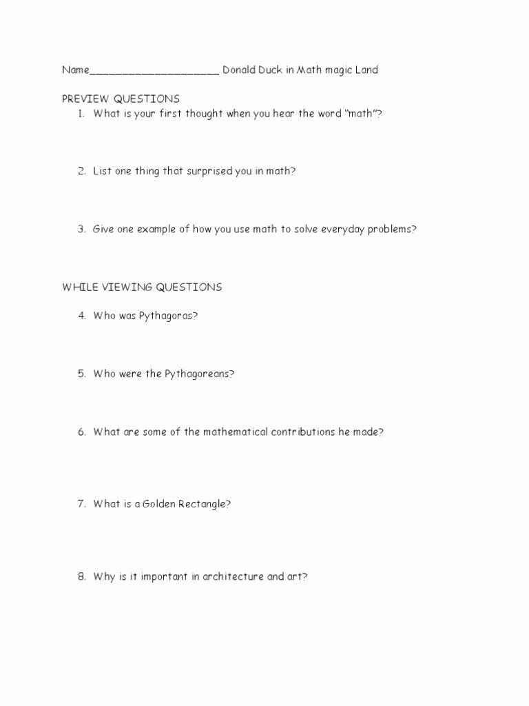 Donald In Mathmagic Land Worksheet Printable Donald Duck In Mathmagic Land Questions