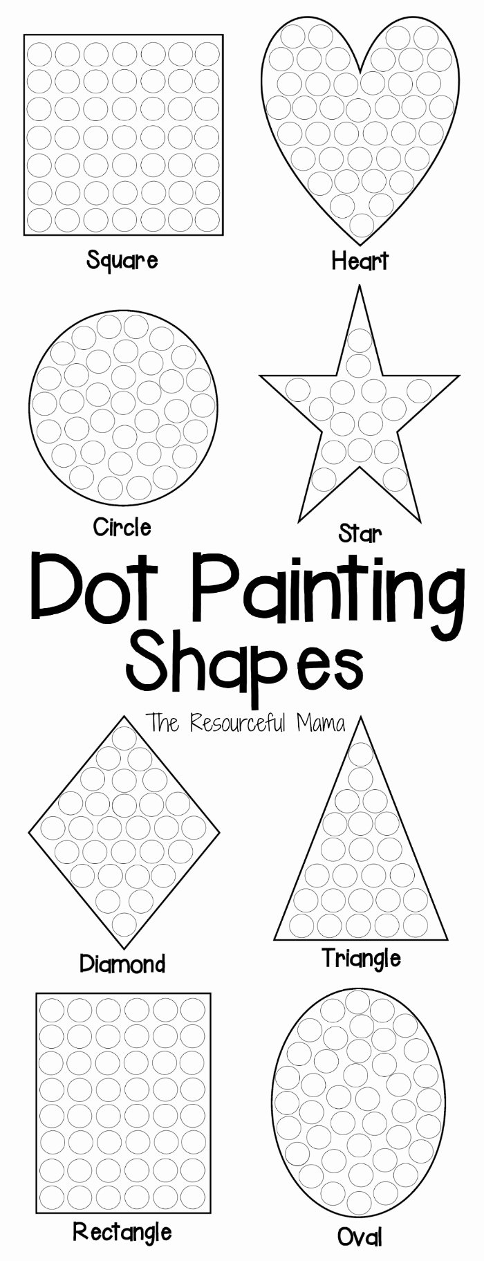 Dot to Dot Art Printables Fresh Shapes Dot Painting Free Printable the Resourceful Mama