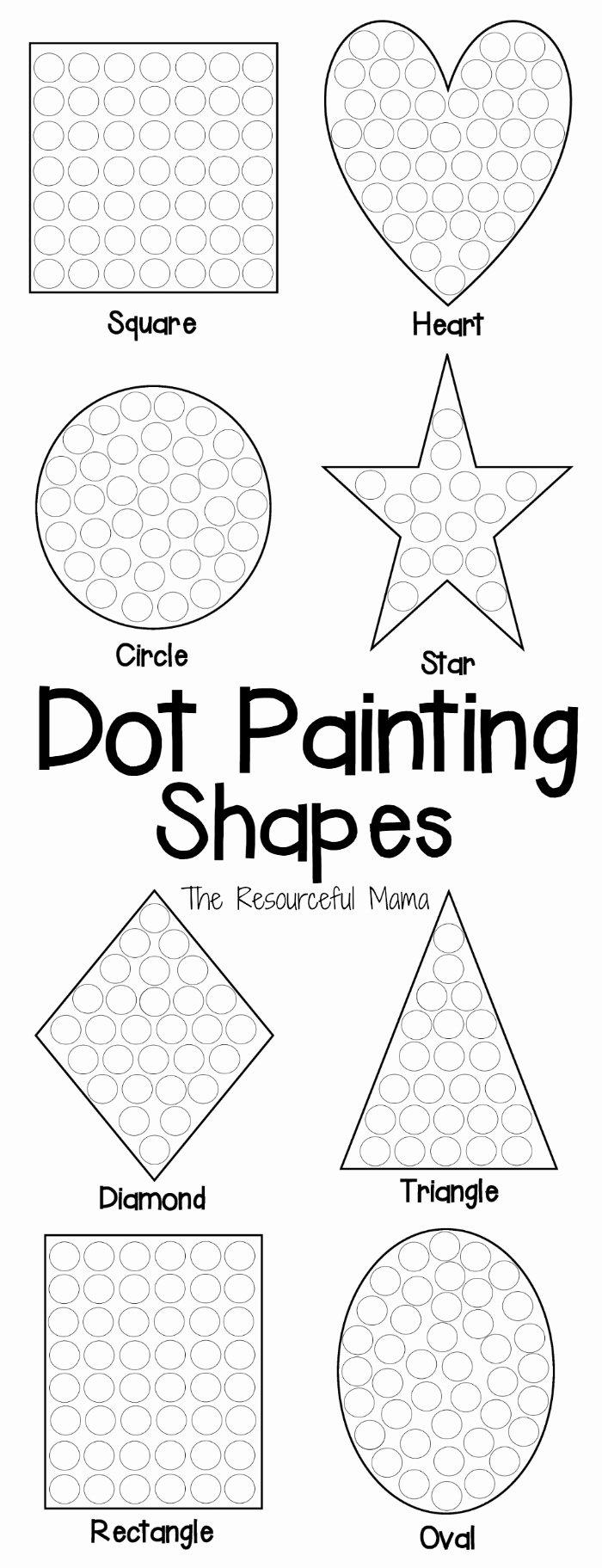 Dot to Dot Art Printables Fresh Shapes Dot Painting Free Printable the Resourceful Mama