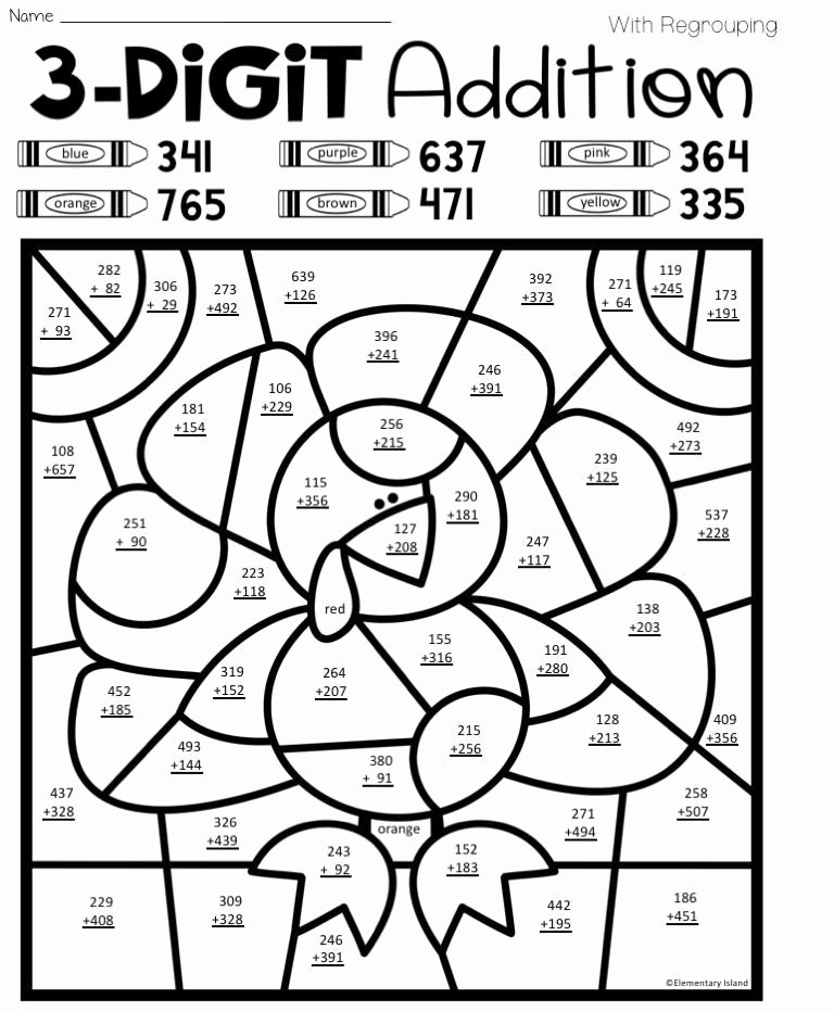 Double Digit Addition Coloring Worksheets Ideas Colorinworksheet Hashtag On Twitter