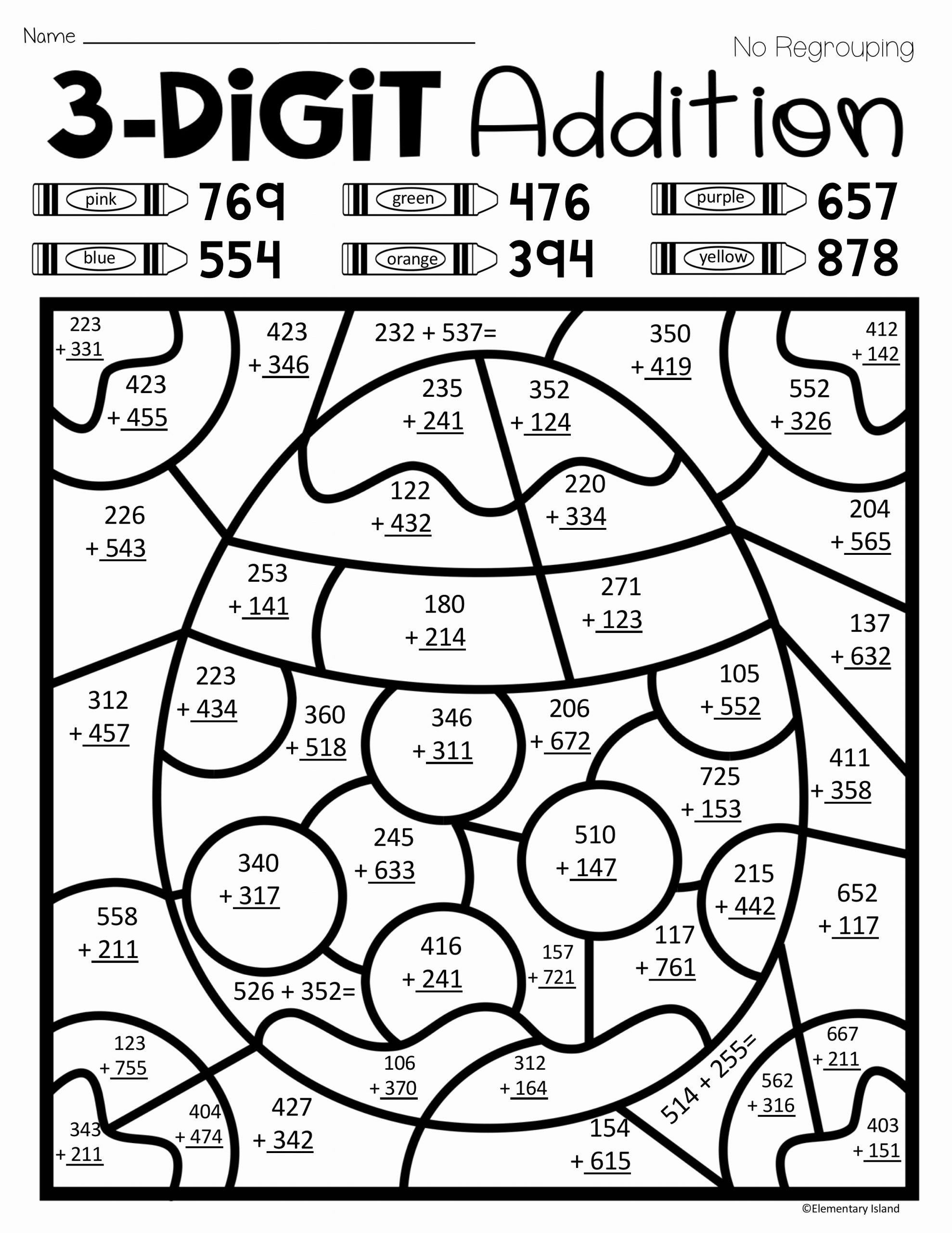 Double Digit Addition Coloring Worksheets Printable This Spring Three Digit Addition Color by Number Activity is