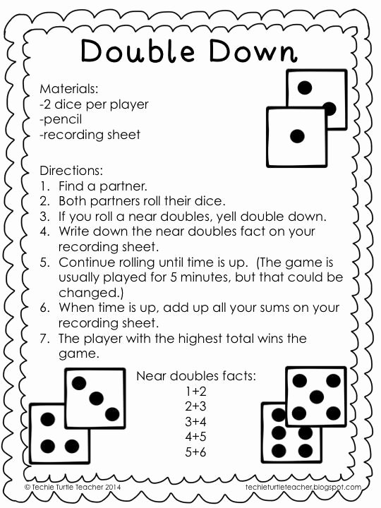 Doubles and Near Doubles Worksheets Printable Freebie Double Down Game to Practice Adding Near Doubles