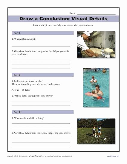 Draw Conclusions Worksheet 3rd Grade Fresh Visual Details