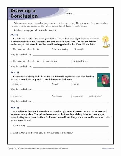 Draw Conclusions Worksheet 3rd Grade Printable Undefined In 2020