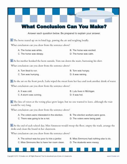 Draw Conclusions Worksheet 4th Grade New Conclusion Can You Make Worksheets Drawing Conclusions