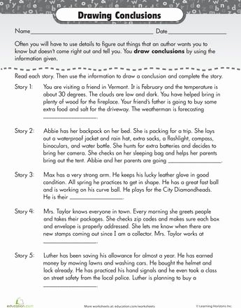 Drawing Conclusions Worksheets 4th Grade Kids Inmotion Hosting