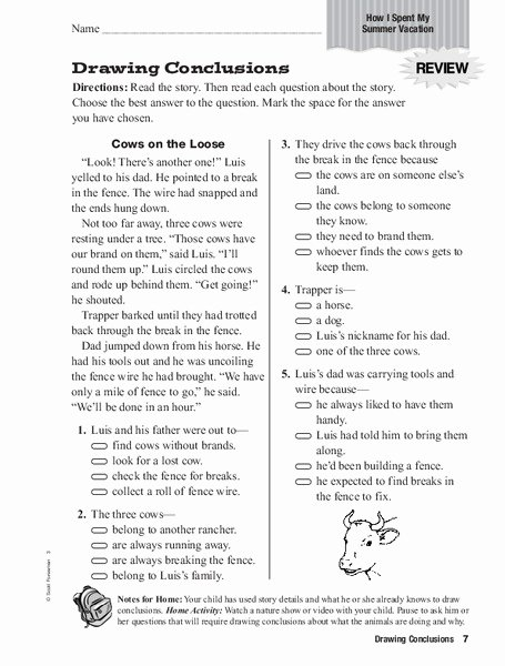 Drawing Conclusions Worksheets 4th Grade Lovely Drawing Conclusions Worksheet for 3rd 4th Grade