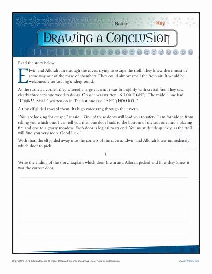 Drawing Conclusions Worksheets 5th Grade New Drawing A Conclusion Worksheets