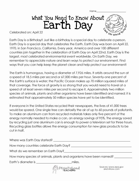 Earth Day Reading Comprehension Worksheets Free Earth Day Worksheets for High School