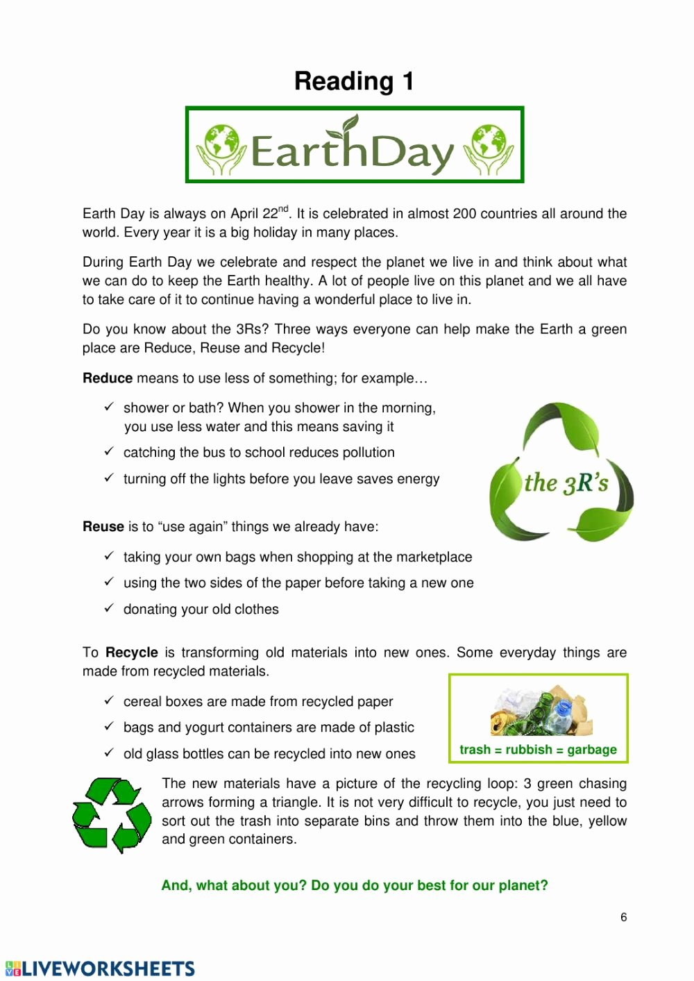 Earth Day Reading Comprehension Worksheets Fresh Earth Day Reading Interactive Worksheet