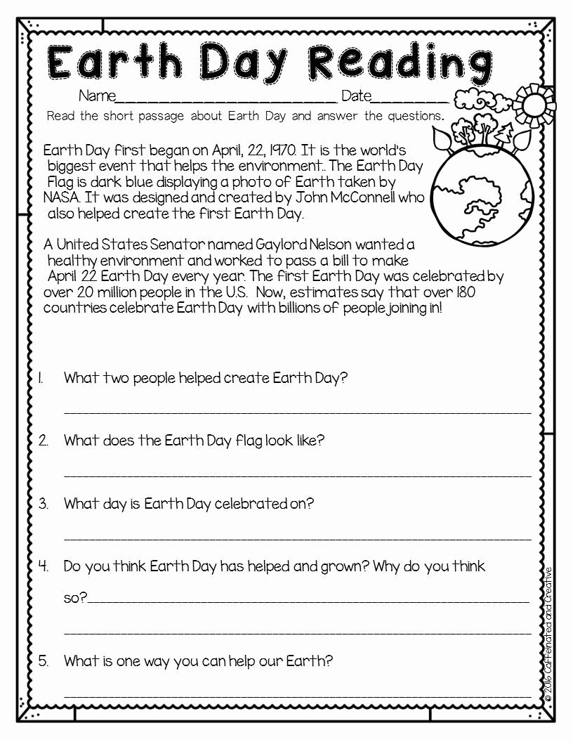 Earth Day Reading Comprehension Worksheets Inspirational Earth Day Reading is A Great Way for Students to Learn How