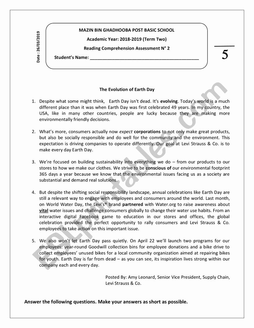Earth Day Reading Comprehension Worksheets New Reading Prehension the Evolution Of Earth Day Esl