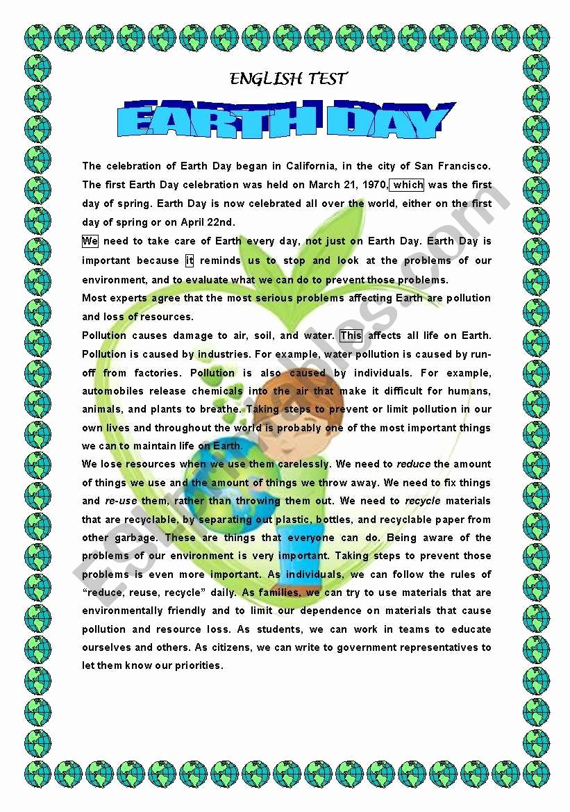 Earth Day Reading Comprehension Worksheets Printable Earth Day Reading Prehension Esl Worksheet by 1961anucha