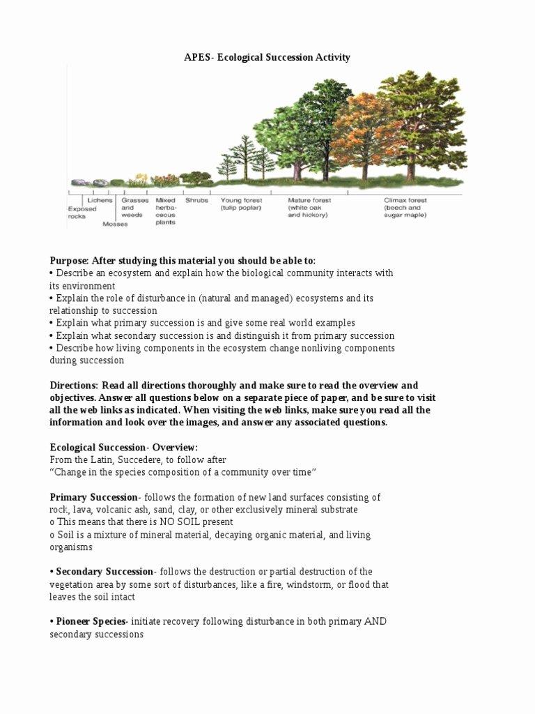 Ecological Succession Worksheet High School Best Of Ecological Succession Activity Ecology