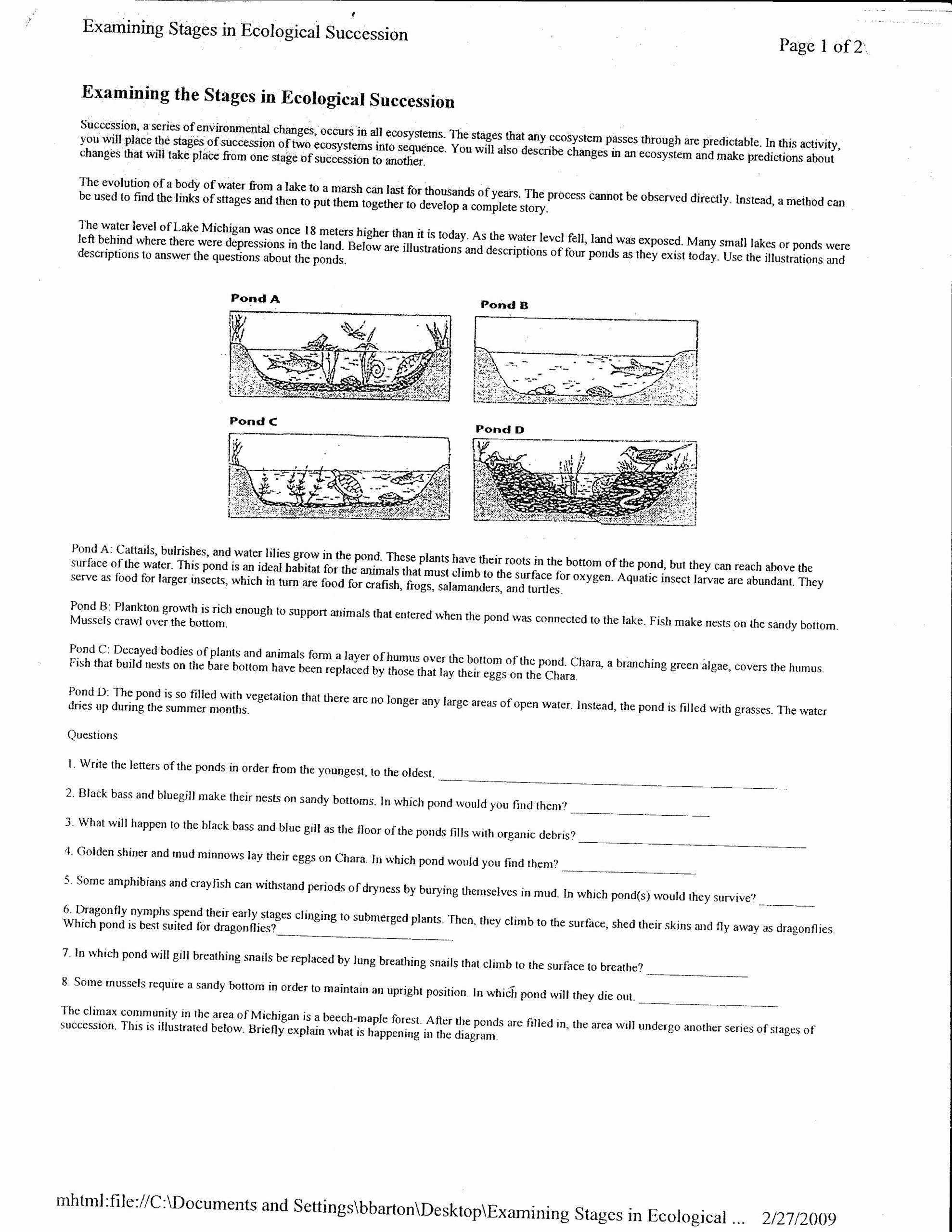 Ecological Succession Worksheet High School Fresh Ecological Succession Notes Worksheet
