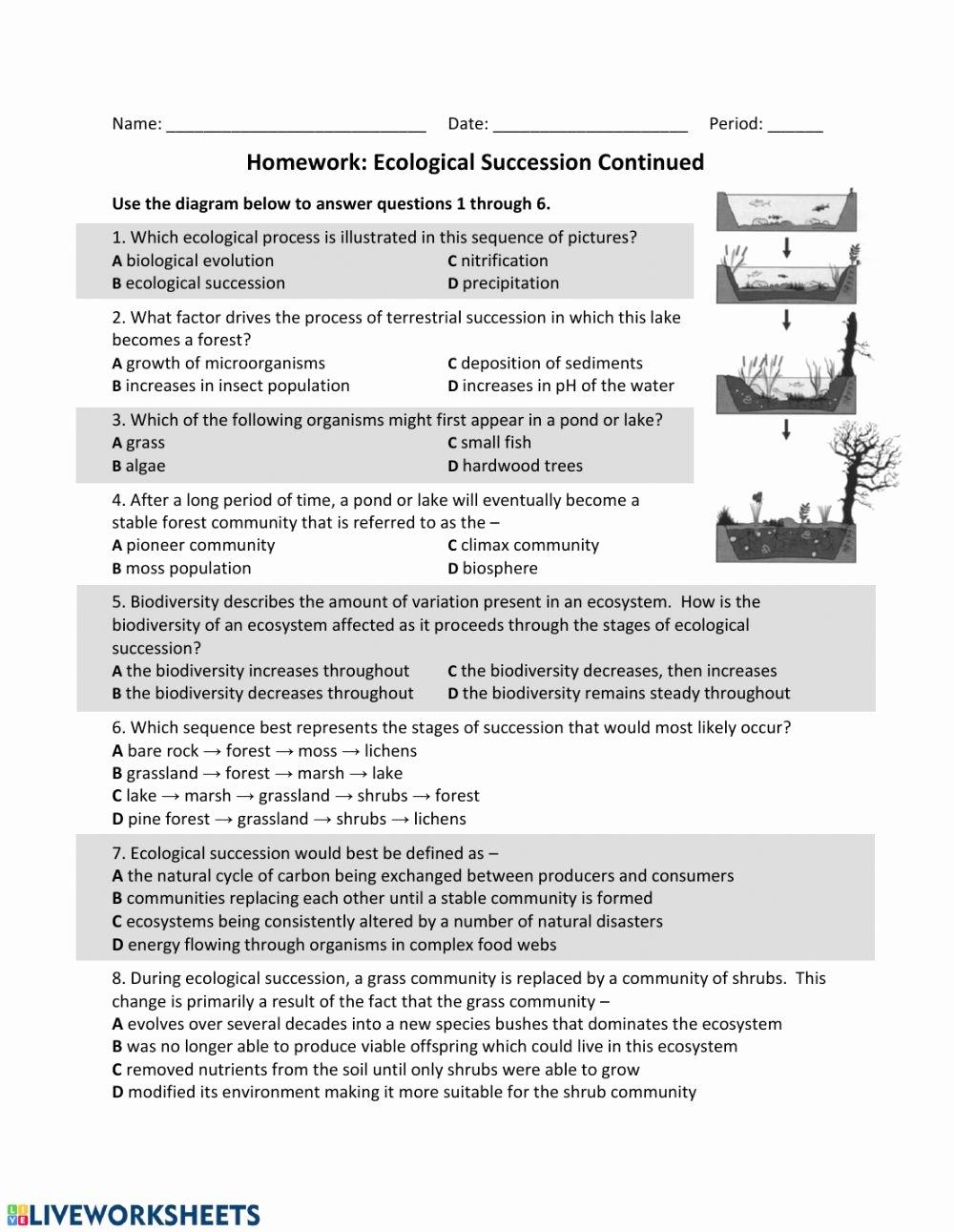 Ecological Succession Worksheet High School Printable Es Eco Succession Part 2 Interactive Worksheet