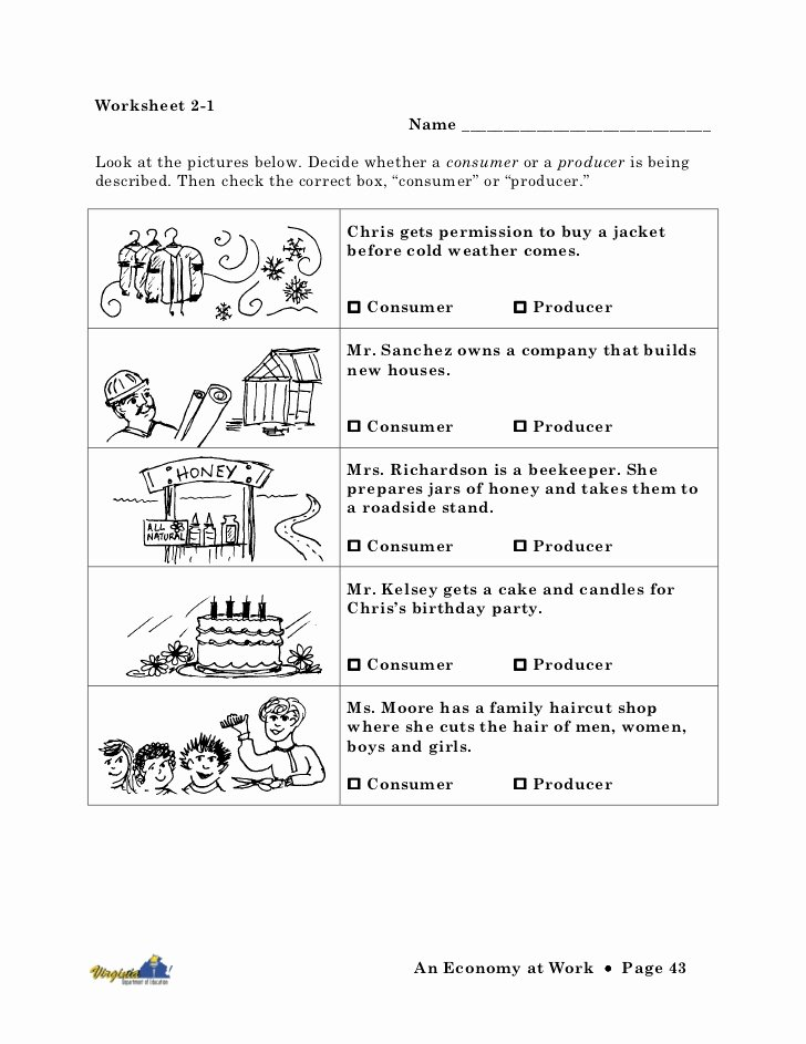 Economics Worksheets for 3rd Grade Inspirational Economy at Work