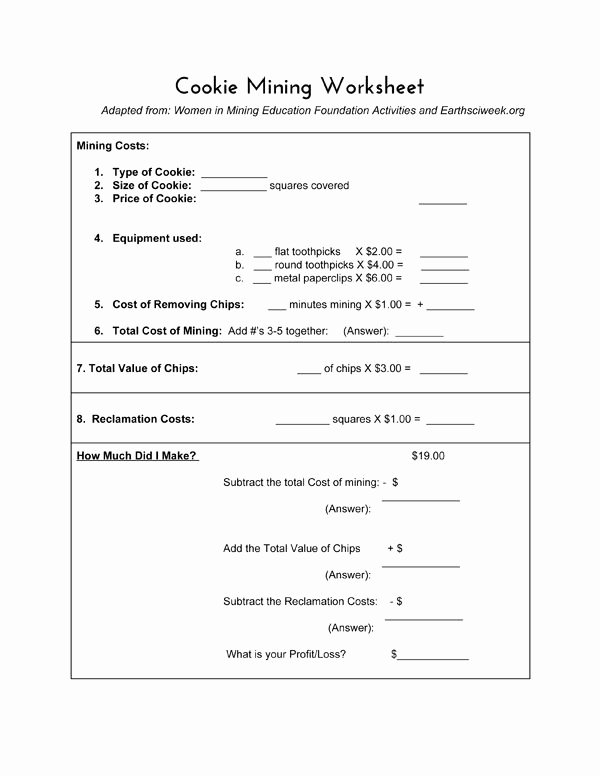 Economics Worksheets for Middle School Free Cookie Mining Economics Lesson
