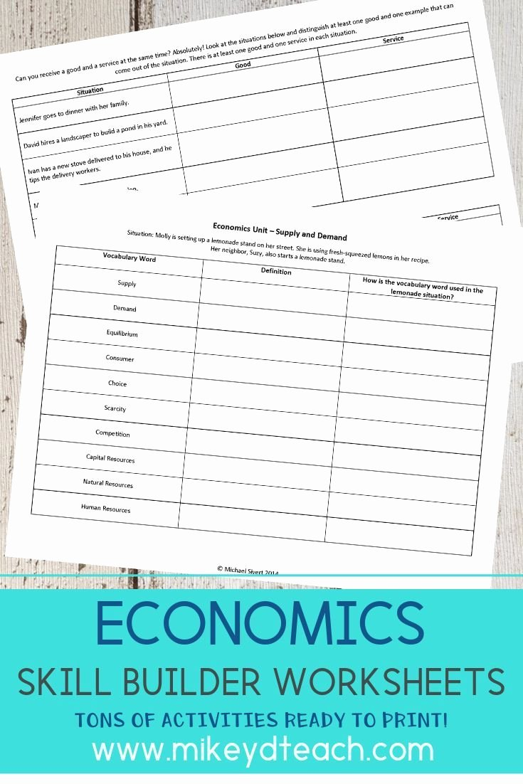 Economics Worksheets for Middle School Kids Economics Worksheets for Middle Schoolers