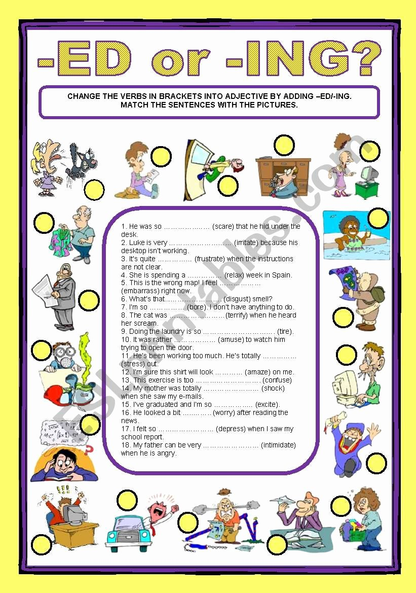 Ed and Ing Endings Worksheets Best Of Adjective Endings Ed Ing Esl Worksheet by Cagreis