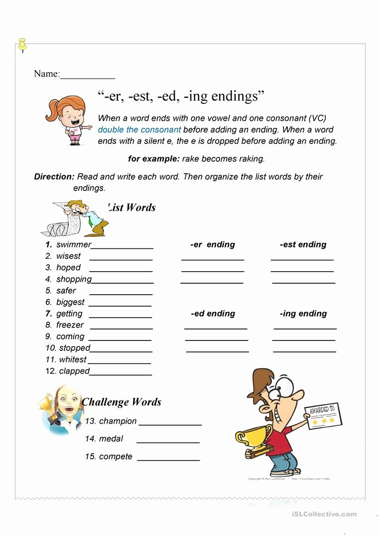 Ed and Ing Endings Worksheets Best Of Er Est Ed Ing Endings English Esl Worksheets for